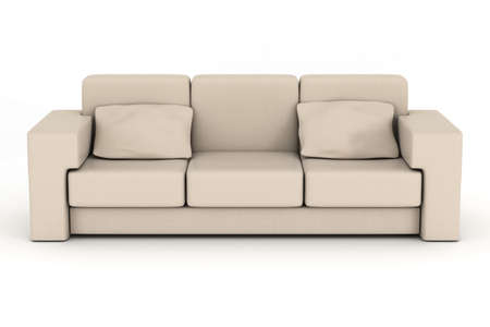 settee: Isolated leather sofa. An interior. 3D image.
