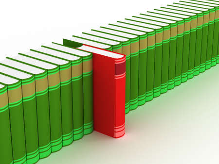 antipode: Row of books on a white background. 3D image.