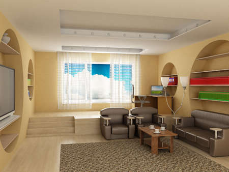 Interior of a room of rest. 3D image photo
