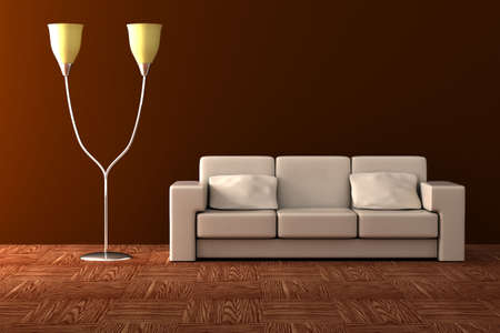plafond: Floor lamp and sofa. Details of an interior.