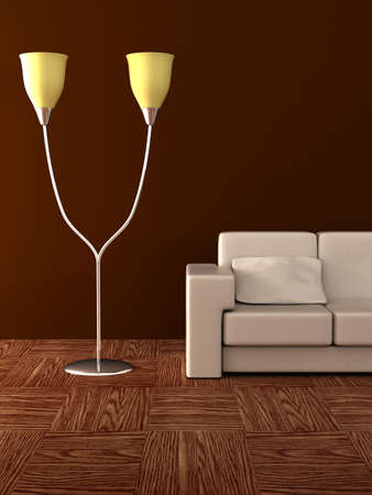 armrest: Floor lamp and sofa. Details of an interior.