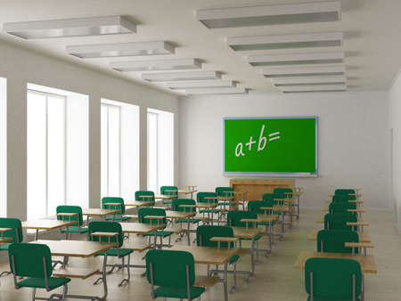 Interior of a school class. 3D image. photo
