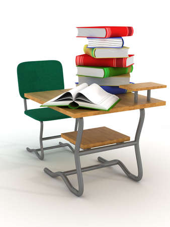 textbooks: School desk with textbooks. 3D image.