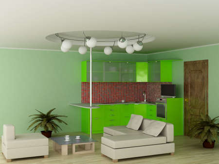 Interior of modern kitchen. 3D image. photo
