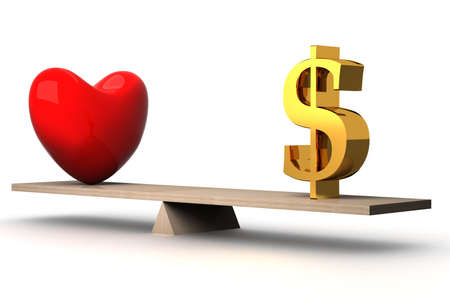 financial item: choice concept between love and money. 3D image. Stock Photo