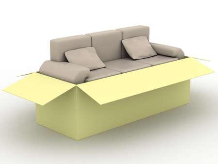 leren bank: lederen sofa in een verpakking doos. 3D-beeld.