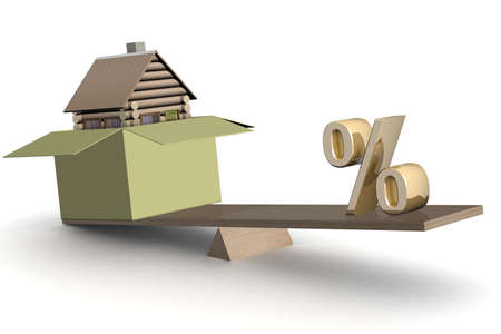 habitation: house in box and percent on scales. 3D image.