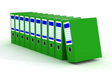 Row of green folders with documents on a white background photo