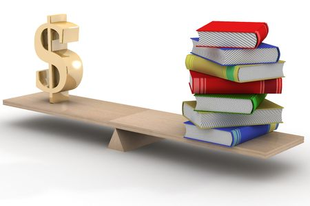 Sign dollar and the books on scales. 3D image. photo