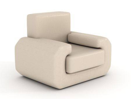 refreshment: leather armchair on a white background. 3D image. Stock Photo