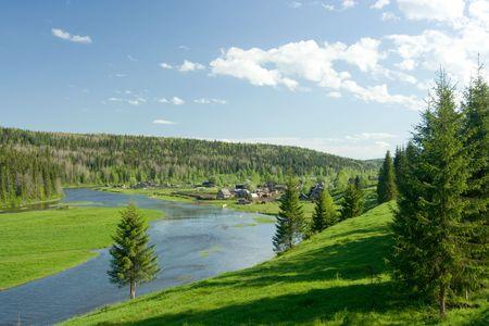 Summer landscape. Village on the river. Stock Photo - 3175854