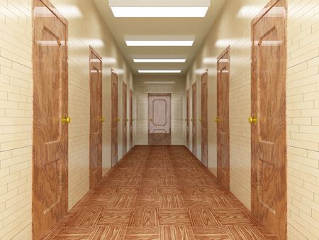 Corridor with a number of doors. 3D image. Stock Photo - 3182980