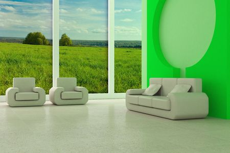 refreshment: Interior of a room of rest. 3D image
