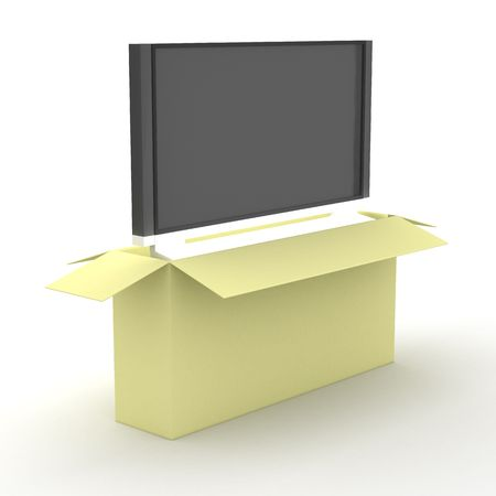 refreshment: TV in a packing box. 3D image. Stock Photo