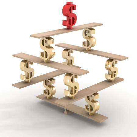 Financial balance. Stable equilibrium. 3D image. Stock Photo - 3267011
