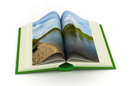verses: open book with a landscape. 3D image.