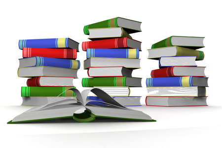 law library: Pile of books. 3D the isolated image. Stock Photo