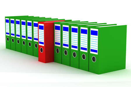 antipode: Row of accounting folders on a white background. 3D image.