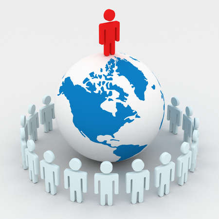 Group of people standing round globe. 3D image. photo