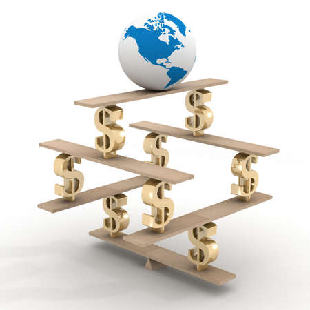 globe on a financial pyramid. 3D image. Stock Photo - 3383496