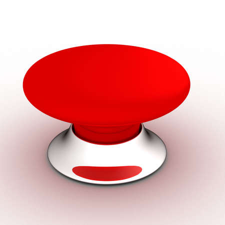 single word: red button on a white background. 3D image