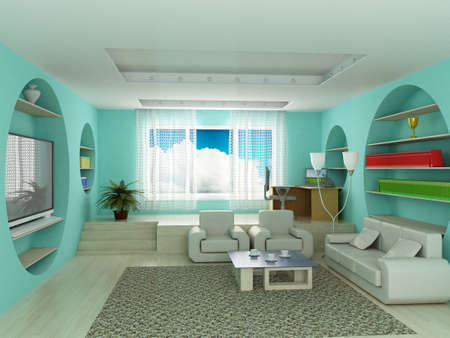 Inter of a living room. 3D image. Stock Photo - 3409211
