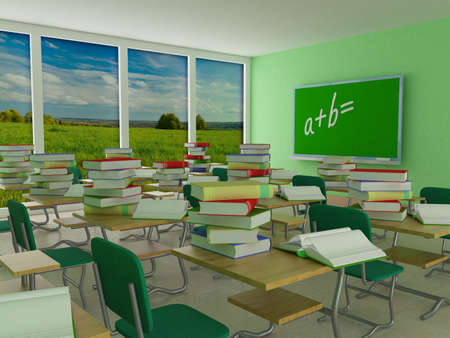 Interior of a school class. 3D image. Stock Photo - 3443626