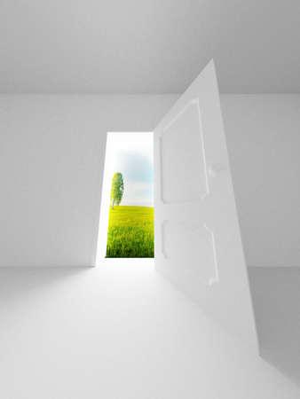 prospect: Landscape behind the open door. 3D image