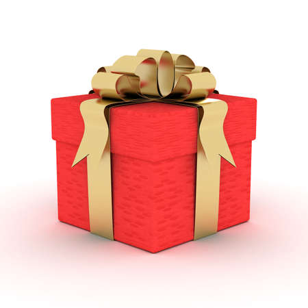 closed ribbon: Gift box. 3D image.
