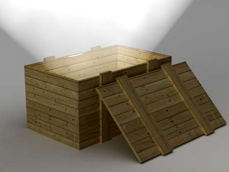 Open box with a ray of light. 3D image. photo