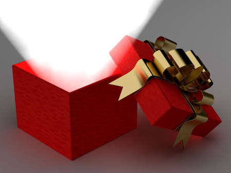 Open gift box with a ray of light. 3D image. photo