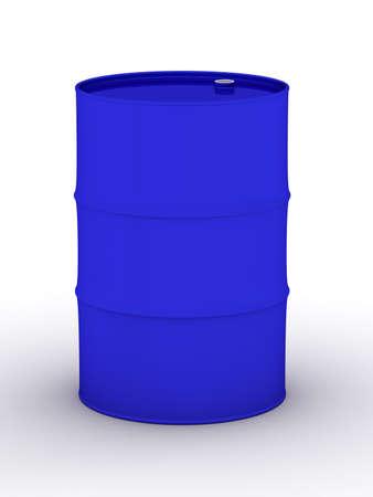 hogshead: blue vat on a white background. 3D image. Stock Photo
