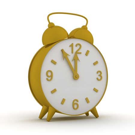oversleep: Old alarm clock. 3D image.