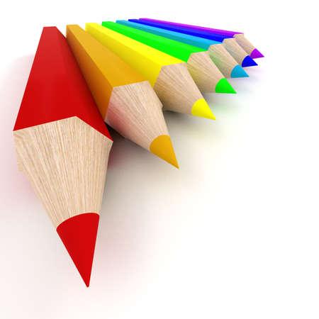 Set of color pencils. the 3D  image. photo