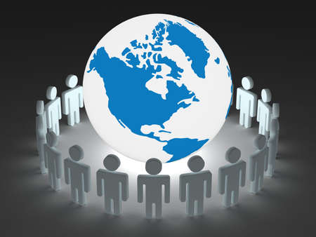 Group of people standing round globe. 3D image. Stock Photo - 3498026