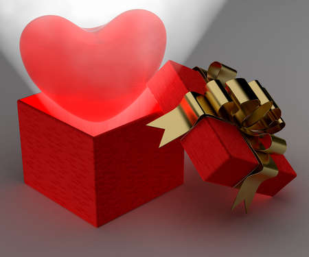 Heart in gift packing. 3D image. photo