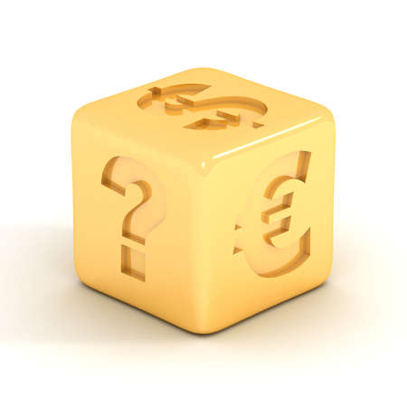 fortuna: Cube with currency signs. 3D image.