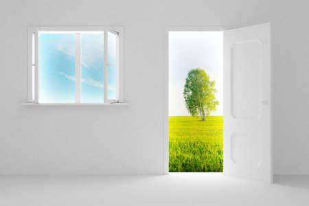 Landscape behind the open door and window. 3D image Stock Photo - 3498074