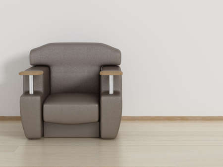 leather armchair: Leather armchair in a room. 3D image.
