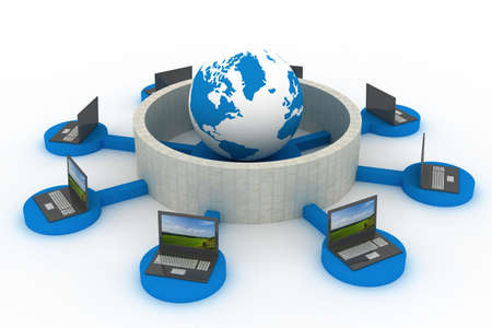 network security: protected global network the Internet. 3D image.