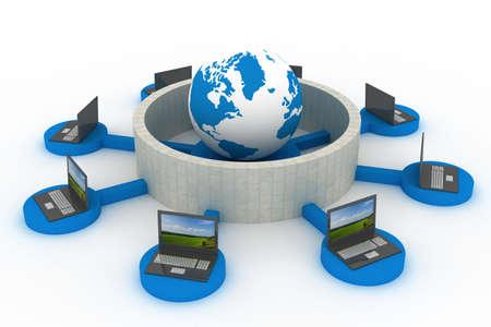 protegidos de la red mundial Internet. Imagen en 3D.