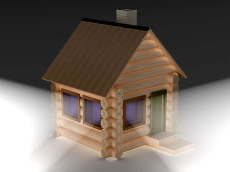 Light from windows of a wooden small house. 3D image. Stock Photo - 3576593