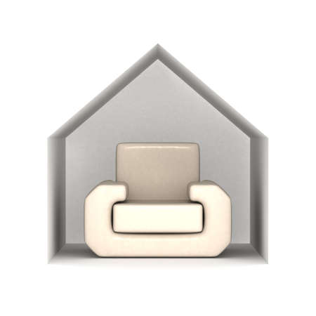 refreshment: Armchair under a house roof. 3D image.