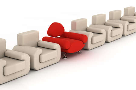 Row armchairs on a white background. 3D image. photo