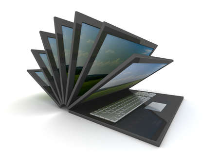 path to success: opening laptop on a white background. 3D image. Stock Photo