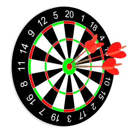 penetrating: Darts on a white background. Isolated 3D image