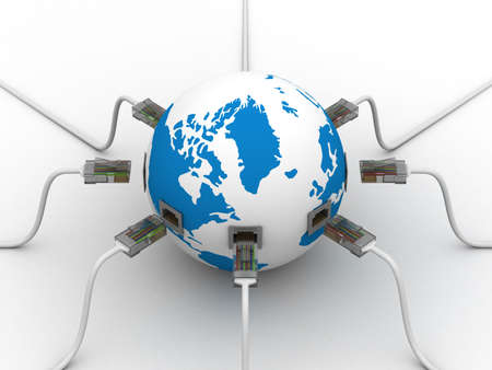 network connection plug: Global communication in the world. 3D image.