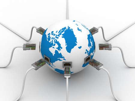 Mundial de la comunicación en el mundo. Imagen en 3D. Foto de archivo