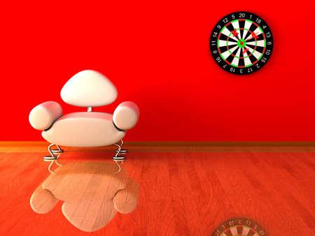 armrest: Interior of a living room. 3D image.