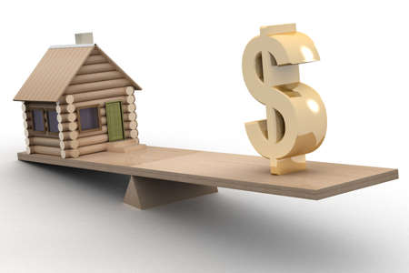earnings: house and dollar on scales. 3D image.